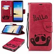Недорогие Чехлы и кейсы для Galaxy Note-Кейс для Назначение SSamsung Galaxy Note 8 Кошелек / Бумажник для карт / со стендом Чехол Панда Твердый Кожа PU для Note 8