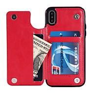 Недорогие Кейсы для iPhone 8-Кейс для Назначение Apple iPhone X / iPhone 8 / iPhone XS Кошелек / Бумажник для карт / со стендом Кейс на заднюю панель Однотонный Твердый Кожа PU для iPhone XS / iPhone XR / iPhone XS Max