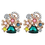 cheap -Women's Sculpture Stud Earrings - Vintage, Ethnic, Fashion Green / Blue For Party / Party / Evening