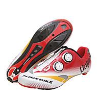 お買い得  -SIDEBIKE 成人 ロードバイクシューズ カーボンファイバー クッション サイクリング レッド / ホワイト 男性用 サイクリングシューズ