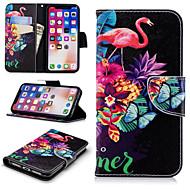 Недорогие Кейсы для iPhone 8-Кейс для Назначение Apple iPhone X / iPhone 8 Plus Кошелек / Бумажник для карт / со стендом Чехол Фламинго Твердый Кожа PU для iPhone X / iPhone 8 Pluss / iPhone 8