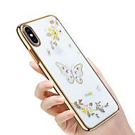 Недорогие Кейсы для iPhone 8-Кейс для Назначение Apple iPhone X / iPhone 8 Стразы / Покрытие / Рельефный Кейс на заднюю панель Бабочка / Сияние и блеск / Цветы Твердый ПК для iPhone X / iPhone 8 Pluss / iPhone 8