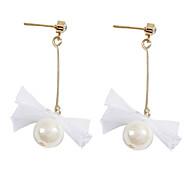 preiswerte -Damen Lang Ohrring - Künstliche Perle, Spitze Schleife Einfach, Koreanisch, Modisch Weiß Für Alltag