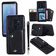 Недорогие Чехлы и кейсы для Galaxy S9 Plus-Кейс для Назначение SSamsung Galaxy S9 Plus / S9 Кошелек / Бумажник для карт / со стендом Кейс на заднюю панель Однотонный Твердый Кожа PU для S9 / S9 Plus / S8 Plus
