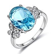 billige Smykker & Ure-Dame Kvadratisk Zirconium Ring - Platin Belagt Koreansk 6 / 7 / 8 / 9 / 10 Sølv Til Fest Aftenselskab