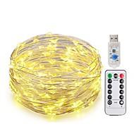 お買い得  -KWB 10m ストリングライト 100 LED SMD 0603 1 13キーリモコン 温白色 / ホワイト / ブルー 新デザイン / USB / 装飾用 USBパワード 1セット