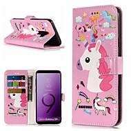 Недорогие Чехлы и кейсы для Galaxy S7 Edge-Кейс для Назначение SSamsung Galaxy S9 Plus / S9 Кошелек / Бумажник для карт / со стендом Чехол единорогом Твердый Кожа PU для S9 / S9 Plus / S8 Plus