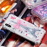 Недорогие Кейсы для iPhone 8 Plus-Кейс для Назначение Apple iPhone X / iPhone 8 Plus Защита от удара / Движущаяся жидкость / Прозрачный Кейс на заднюю панель Эйфелева башня Мягкий ТПУ для iPhone X / iPhone 8 Pluss / iPhone 8