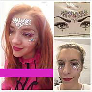 abordables Tatuajes Temporales-1 pcs Colores de Pintura Facial Los tatuajes temporales Series de Joya Cristal Artes de cuerpo Rostro