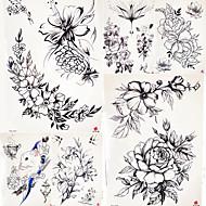 billige Midlertidige tatoveringer-5 pcs Midlertidige Tatoveringer Blomster Serier / Romantisk Serie Glat klistermærke / Sikkerhed Kropskunst Krop / arm / skulder / Decal-stil midlertidige tatoveringer