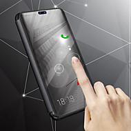 お買い得  携帯電話ケース-ケース 用途 Samsung Galaxy J8 / J6 スタンド付き / メッキ仕上げ / ミラー フルボディーケース ソリッド ハード PUレザー のために J8 / J7 Duo / J6