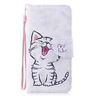 お買い得  携帯電話ケース-ケース 用途 Huawei Honor 7X ウォレット / カードホルダー / フリップ フルボディーケース 猫 ハード PUレザー のために Honor 7X