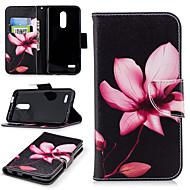 preiswerte Handyhüllen-Hülle Für LG K10 2018 Geldbeutel / Kreditkartenfächer / mit Halterung Ganzkörper-Gehäuse Blume Hart PU-Leder für LG K10 2018