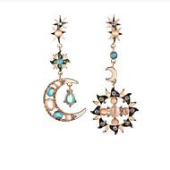 abordables Pendientes sin combinar-Mujer Cristal No coincidente Lámparas Araña Pendientes colgantes - Zirconia Cúbica MOON Azul Para