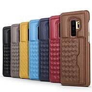 Недорогие Чехлы и кейсы для Galaxy S9 Plus-Кейс для Назначение SSamsung Galaxy S9 Plus / S8 Plus Бумажник для карт / со стендом Кейс на заднюю панель Полосы / волосы Твердый Настоящая кожа для S9 / S9 Plus / S8 Plus