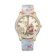cheap -Women's Wrist Watch Chinese Eiffel Tower / Casual Watch Leather Band Flower / Fashion Black / Blue / Red