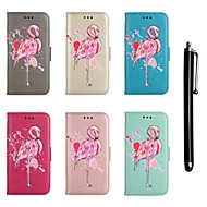 Недорогие Чехлы и кейсы для Galaxy S7 Edge-Кейс для Назначение SSamsung Galaxy S9 / S8 Кошелек / Бумажник для карт / со стендом Чехол Фламинго / Сияние и блеск Твердый Кожа PU для S9 / S9 Plus / S8 Plus