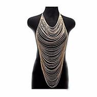 זול -שכבות מרובות / קישור קובני שרשרת גוף / בטן שרשרת יצירתי הצהרה, מסוגנן, צִיצִית בגדי ריקוד נשים זהב תכשיטי גוף עבור קרנבל / מועדונים