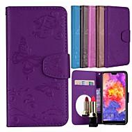 preiswerte Handyhüllen-Hülle Für Huawei P20 Pro Kreditkartenfächer / mit Halterung / Muster Ganzkörper-Gehäuse Schmetterling / Blume Hart PU-Leder für Huawei P20 Pro