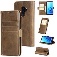 Недорогие Чехлы и кейсы для Galaxy S-Кейс для Назначение SSamsung Galaxy S9 Plus Кошелек / Бумажник для карт / Флип Кейс на заднюю панель Однотонный Твердый Кожа PU для S9 Plus