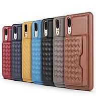 お買い得  携帯電話ケース-ケース 用途 Huawei P20 Pro / P10 Plus カードホルダー / スタンド付き バックカバー ライン/ウェイブ ハード 本革 のために Huawei P20 / Huawei P20 Pro / P10 Plus