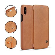 cheap iPhone 8 Cases-Case For Apple iPhone X / iPhone 8 Card Holder / with Stand / Flip Full Body Cases Solid Colored Hard Genuine Leather for iPhone X / iPhone 8 Plus / iPhone 8