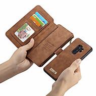 Недорогие Чехлы и кейсы для Galaxy S6 Edge Plus-Кейс для Назначение SSamsung Galaxy S9 Plus / S9 Кошелек / Бумажник для карт / Флип Чехол Однотонный Твердый Кожа PU для S9 / S9 Plus / S8 Plus