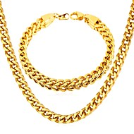 cheap -Men's Thick Chain Jewelry Set - Stainless Steel Hip-Hop Include Chain Bracelet Necklace Gold / Black / Silver For Gift Daily