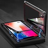 Недорогие Кейсы для iPhone 8 Plus-Кейс для Назначение Apple iPhone X / iPhone 8 Магнитный Чехол Однотонный Твердый Закаленное стекло для iPhone X / iPhone 8 Pluss / iPhone 8