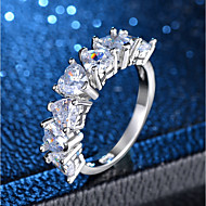 cheap -Women's Classic Ring - Platinum Plated, Imitation Diamond Heart, Love Classic, Romantic 6 / 7 / 8 / 9 / 10 Silver For Party Engagement