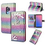 Недорогие Чехлы и кейсы для Galaxy Note-Кейс для Назначение SSamsung Galaxy Note 9 / Note 8 Кошелек / Бумажник для карт / Стразы Чехол Сияние и блеск / Стразы / Цветы Твердый Кожа PU для Note 9 / Note 8
