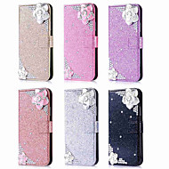 Недорогие Чехлы и кейсы для Galaxy Note 8-Кейс для Назначение SSamsung Galaxy Note 9 / Note 8 Кошелек / Бумажник для карт / Стразы Чехол Сияние и блеск / Стразы / Цветы Твердый Кожа PU для Note 9 / Note 8