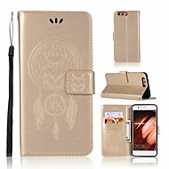 お買い得  携帯電話ケース-ケース 用途 Huawei P10 ウォレット / カードホルダー / スタンド付き フルボディーケース フクロウ ハード PUレザー のために P10