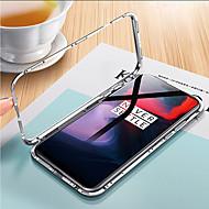 Недорогие Модные популярные товары-Кейс для Назначение OnePlus OnePlus 6 Прозрачный Чехол Однотонный Твердый Закаленное стекло / Металл для OnePlus 6