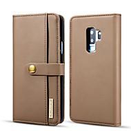 お買い得  -DG.MING ケース 用途 Samsung Galaxy S9 Plus ウォレット / カードホルダー / スタンド付き フルボディーケース ソリッド ハード PUレザー のために S9 Plus