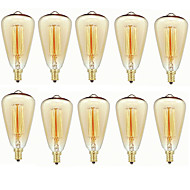 abordables Bombillas Incandescentes-10pcs 40 W E14 ST48 Blanco Cálido 2200-2700 k Retro / Regulable / Decorativa Bombilla incandescente Vintage Edison 220-240 V