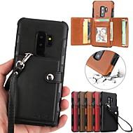 Недорогие Чехлы и кейсы для Galaxy S9 Plus-Кейс для Назначение SSamsung Galaxy S9 Plus / S9 Кошелек / Бумажник для карт Кейс на заднюю панель Однотонный Твердый Кожа PU для S9 / S9 Plus / S8 Plus