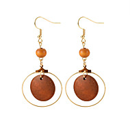 Women's Retro Drop Earrings - Wood Ladies, Simple, European, Fashion Jewelry Brown For Causal Daily / 1 Pair