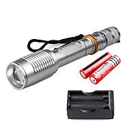 preiswerte Taschenlampen, Laternen & Lichter-U'King LED Taschenlampen LED LED Sender 2000 lm 5 Beleuchtungsmodus inklusive Batterien und Ladegerät Zoomable-, einstellbarer Fokus Camping / Wandern / Erkundungen, Für den täglichen Einsatz, Natur