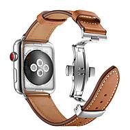 時計バンド のために Apple Watch Series 4/3/2/1 Apple バタフライバックル 本革 リストストラップ