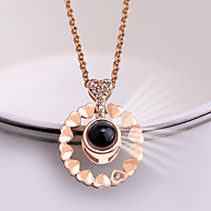 cheap -Women's Classic Charm Necklace Rhinestone Heart Ladies Trendy Korean Cute Cute Heart Gold Silver 42+5 cm Necklace Jewelry 1pc For School Date