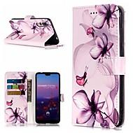 preiswerte Handyhüllen-Hülle Für Huawei P20 Pro / P10 Lite Geldbeutel / Kreditkartenfächer / mit Halterung Ganzkörper-Gehäuse Blume Hart PU-Leder für Huawei P20 / Huawei P20 Pro / Huawei P20 lite