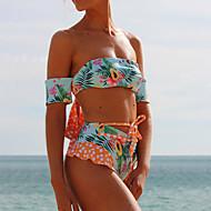 cheap -Women's Boho Off Shoulder Blue Green Yellow Bandeau High Waist Tankini Swimwear - Floral Lace up M L XL Blue