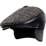 Men's Basic Polyester Beanie / Slouchy Beret Hat Bowler / Cloche Hat-Print Fall Winter Brown Black