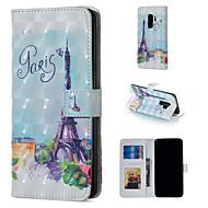 Недорогие Чехлы и кейсы для Galaxy S-Кейс для Назначение SSamsung Galaxy S9 Plus / S9 Кошелек / Бумажник для карт / со стендом Чехол Эйфелева башня Твердый Кожа PU для S9 / S9 Plus / S8 Plus