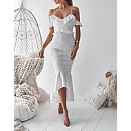 cheap -Women's Party Going out Sexy Asymmetrical Slim Trumpet / Mermaid Dress - Solid Colored Lace Ruffle Strap Summer White Red M L XL