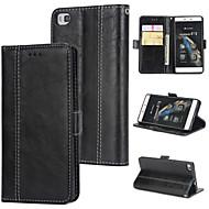 preiswerte Handyhüllen-Hülle Für Huawei P8 Geldbeutel / Kreditkartenfächer / Flipbare Hülle Rückseite Solide Hart PU-Leder für Huawei P8