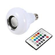 abordables Bombillas LED Inteligentes-1 unid smart e27 rgb bluetooth altavoz llevó la luz de bulbo 12 w música tocando la lámpara led inalámbrico de 24 regulable control remoto