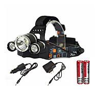 baratos Lanternas & Luminárias-Lanternas de Cabeça LED Emissores 6000 lm 1 Modo Iluminação Com Pilhas e Carregador Zoomable, Impermeável, Recarregável Campismo / Escursão / Espeleologismo, Uso Diário, Mergulho / Náutica Preto