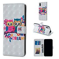Недорогие Кейсы для iPhone 8 Plus-Кейс для Назначение Apple iPhone XR / iPhone XS Max Кошелек / Бумажник для карт / со стендом Чехол Сова Твердый Кожа PU для iPhone XS / iPhone XR / iPhone XS Max